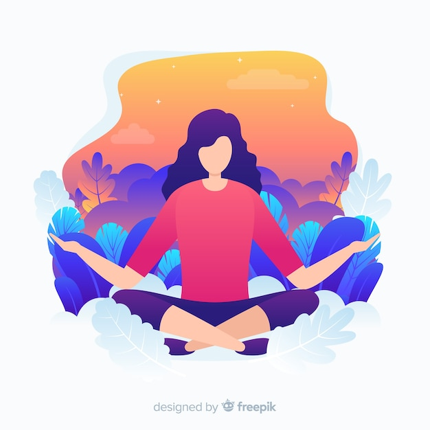 Flat design yoga character for landing page Free Vector