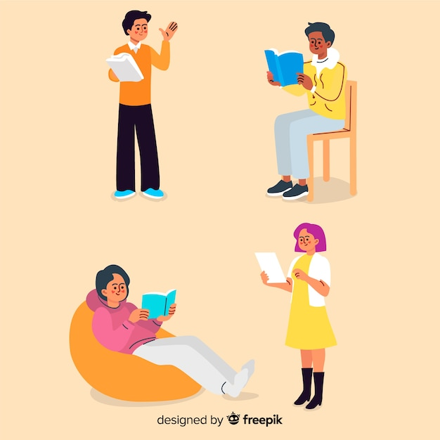 Flat design young characters reading Free Vector