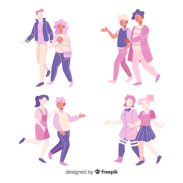 Flat design young couples walking together Free Vector