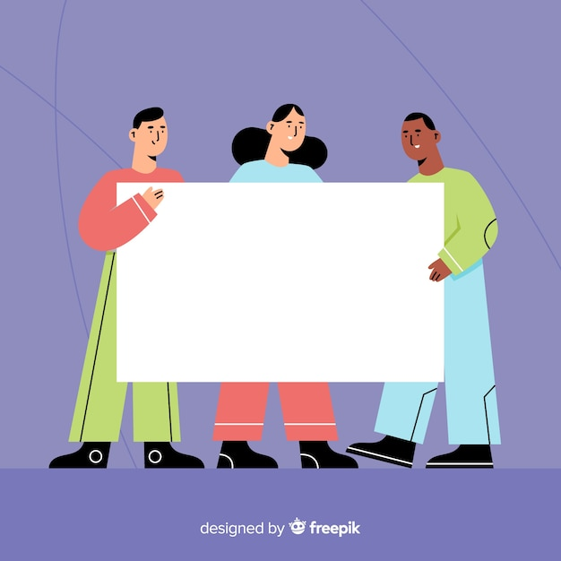 Flat design of young people holding blank banner Free Vector