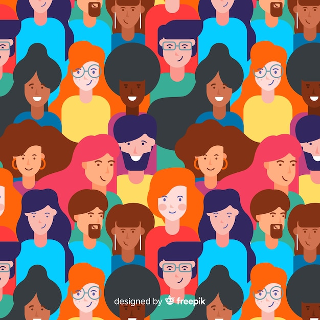 Flat design young people pattern Free Vector