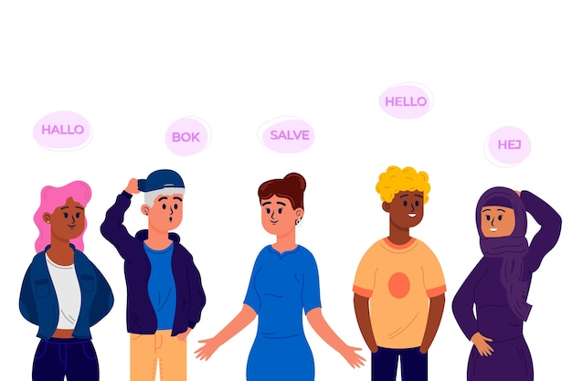 Flat design young people talking in different languages set Free Vector