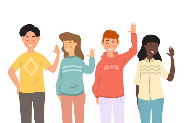 Flat design young people waving hand set Free Vector
