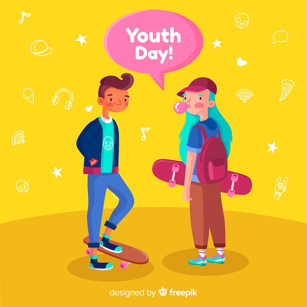 Flat design youth day background Free Vector