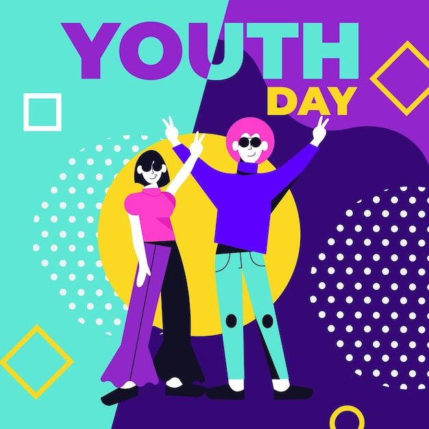 Flat design youth day concept Free Vector