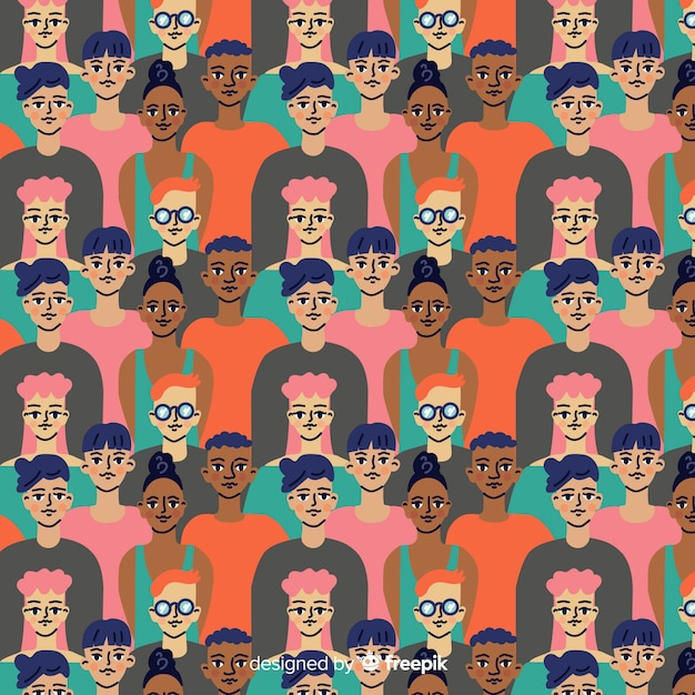 Flat design youth people pattern Free Vector