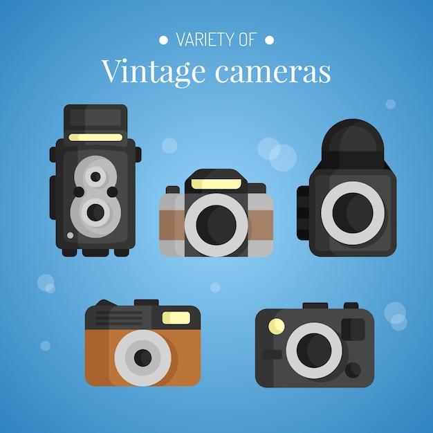 Flat designed variety of vintage cameras