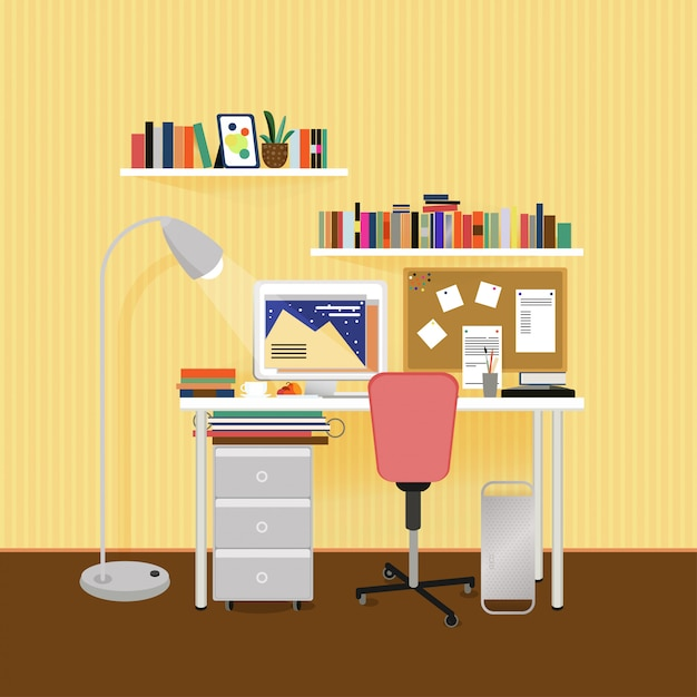 Flat designer workplace concept Free Vector