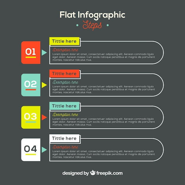 Flat desing infographic steps Free Vector