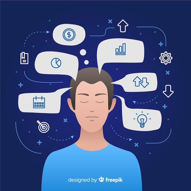 Flat desing thinking concept background Free Vector