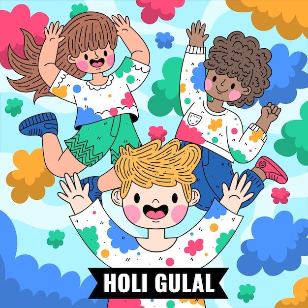 평면 자세한 다채로운 holi gulal 그림 무료 벡터