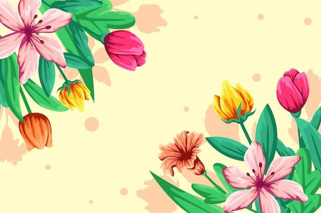 フラット詳細なカラフルな春の背景 無料ベクター