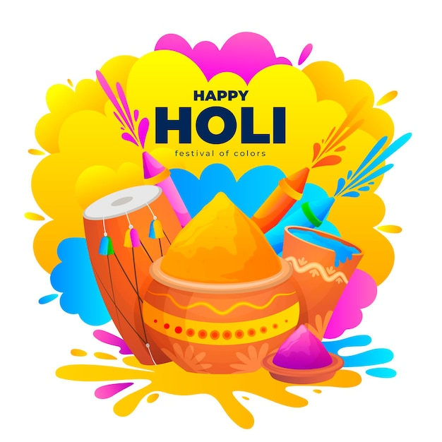 Flat detailed happy holi festival illustration Free Vector