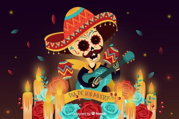 Flat día de muertos background and skull with guitar Free Vector