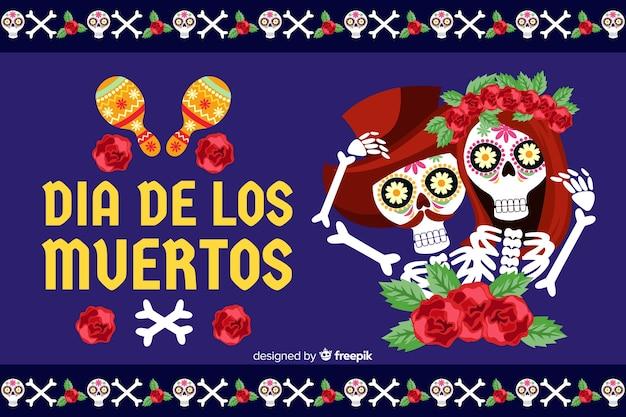Flat día de muertos background with skeleton couple Free Vector