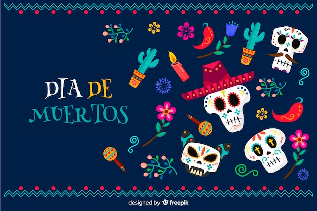 Flat día de muertos background Free Vector