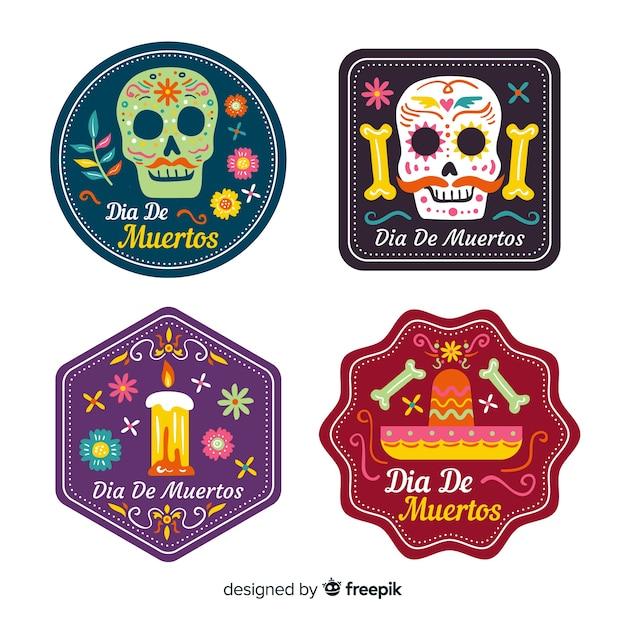 Flat día de muertos badge collection Free Vector