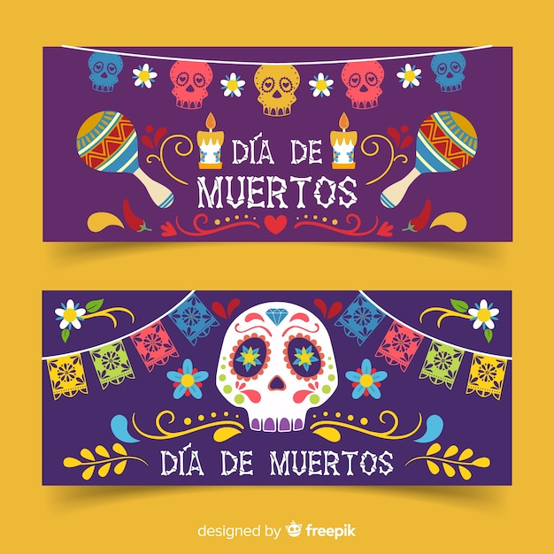 Flat día de muertos banners with maracas and skulls Free Vector