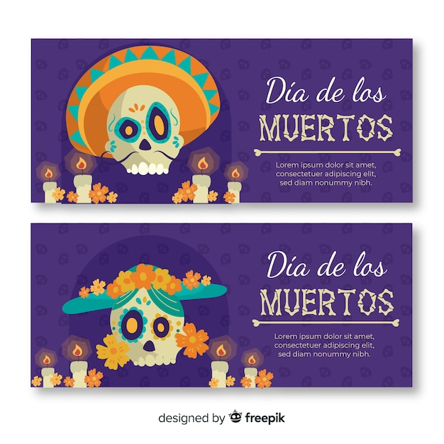 Flat día de muertos banners with mexican skull Free Vector