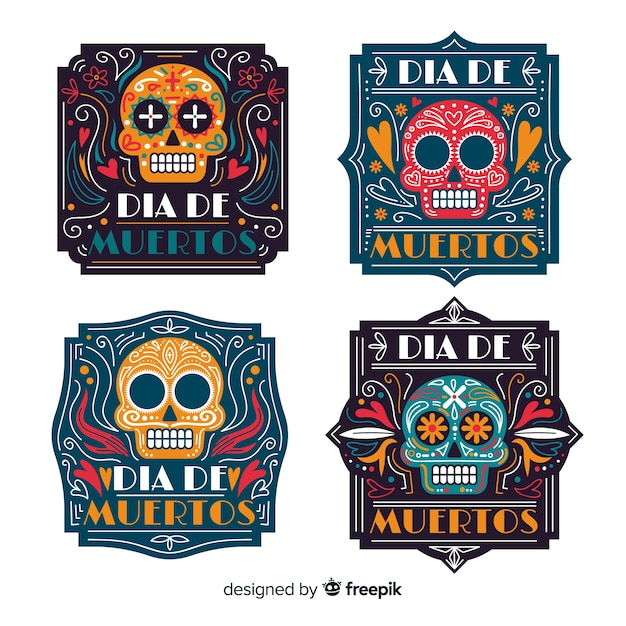 Flat día de muertos label collection Free Vector