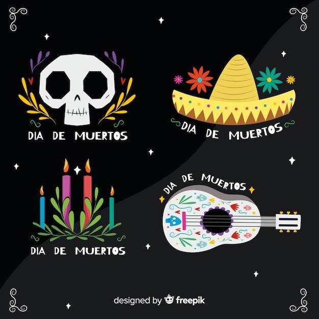 Flat dia de muertos label collection Free Vector