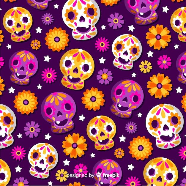 Flat día de muertos pattern with happy baby skulls Free Vector