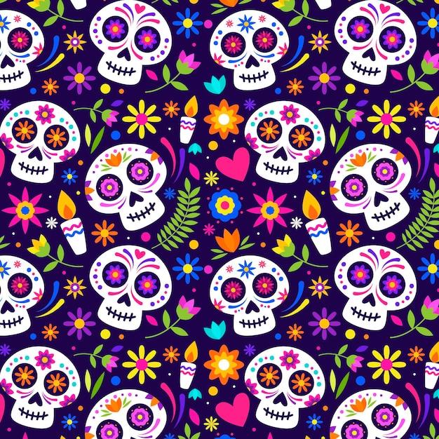 Flat Día De Muertos 패턴 프리미엄 벡터