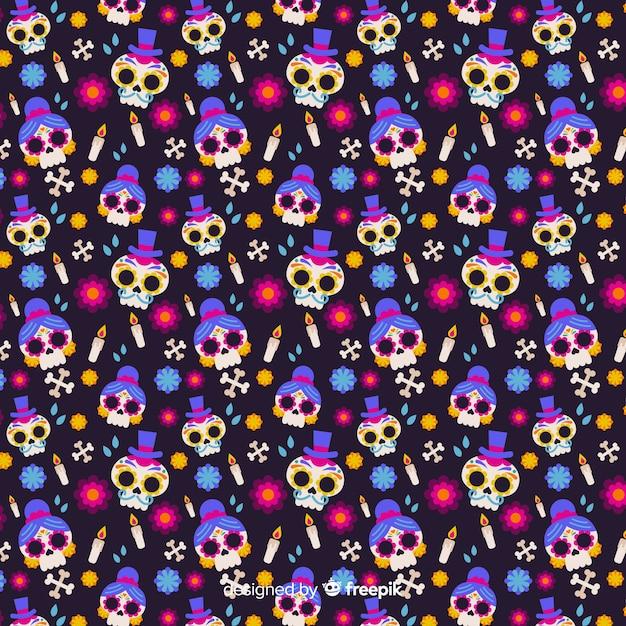 Flat día de muertos seamless pattern Free Vector