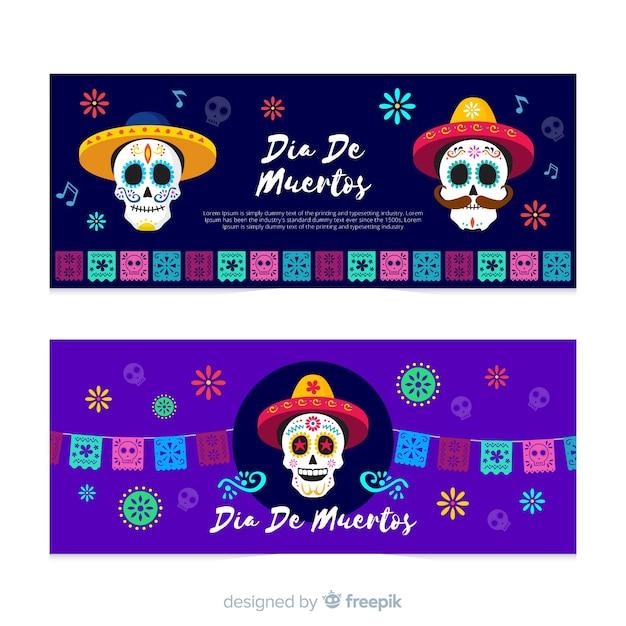 Flat día de muertos skull banners Free Vector