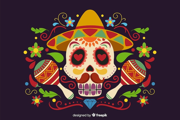 Flat día de muertos with skull and maracas background Free Vector