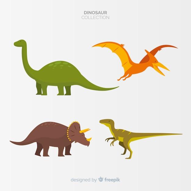 Плоская коллекция динозавров Бесплатные векторы