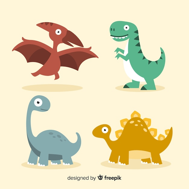 Flat dinosaur collection Free Vector