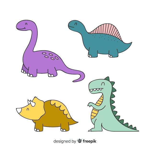 Flat dinosaur collection Free Vector