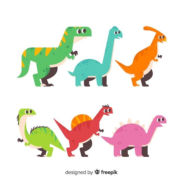 Collezione di dinosauri piatti Vettore gratuito
