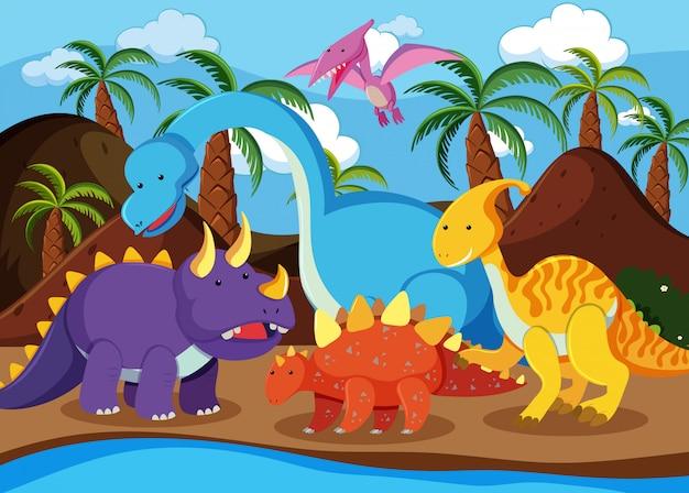 Flat dinosaur in nature Premium Vector