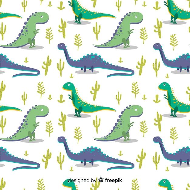 Flat dinosaur pattern Free Vector