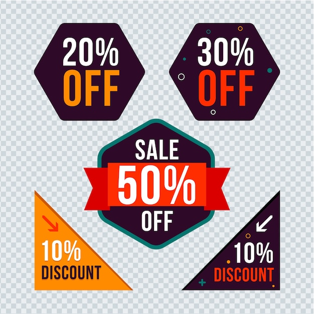 Flat discount badge design. Premium Vector