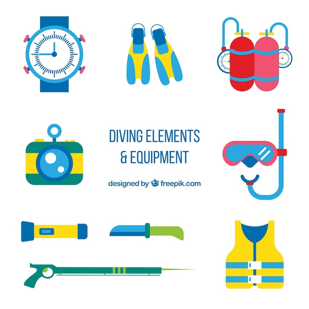 Flat diving accessories pack Free Vector