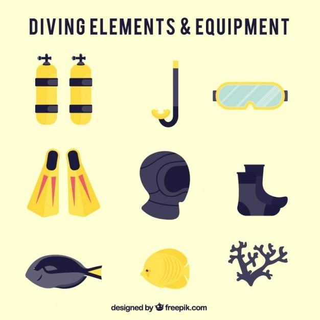 Flat diving equipment Free Vector