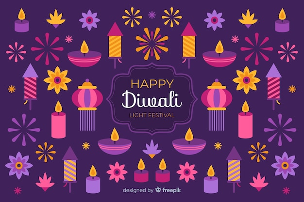 Flat diwali background and variety of candles Free Vector