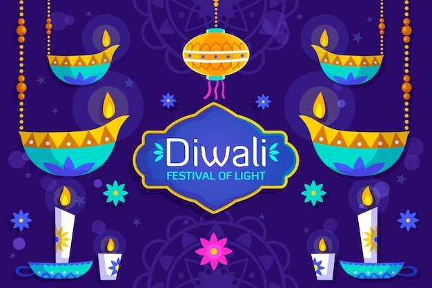 Flat diwali background with candles Free Vector