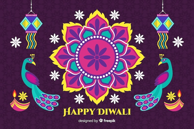 Flat diwali background with floral design and peacocks Free Vector