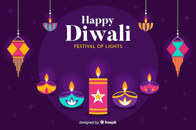 Flat diwali cultural event background Free Vector