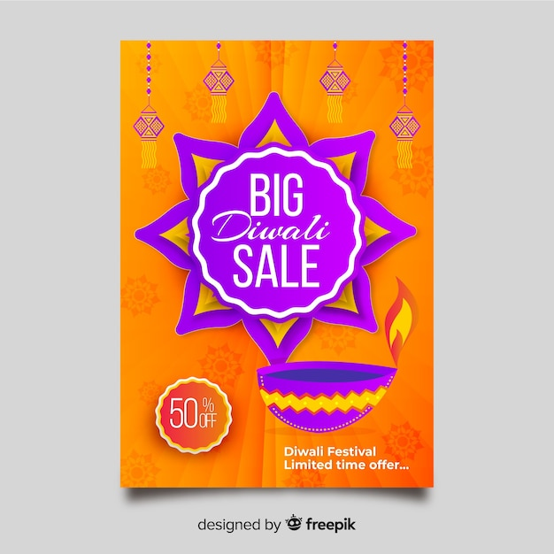 Flat diwali sale flyer template and abstract sun design Free Vector