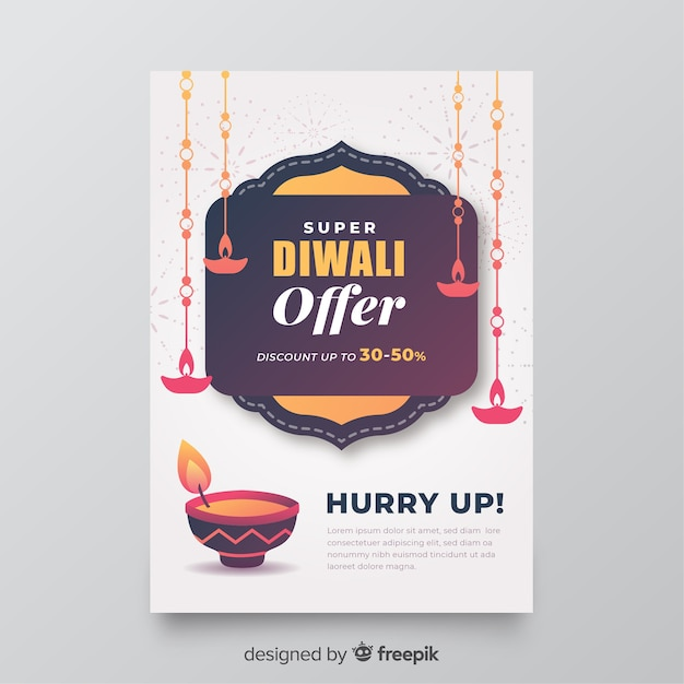 Flat diwali sale flyer template with offer Free Vector