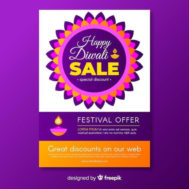 Flat diwali sale flyer template Free Vector