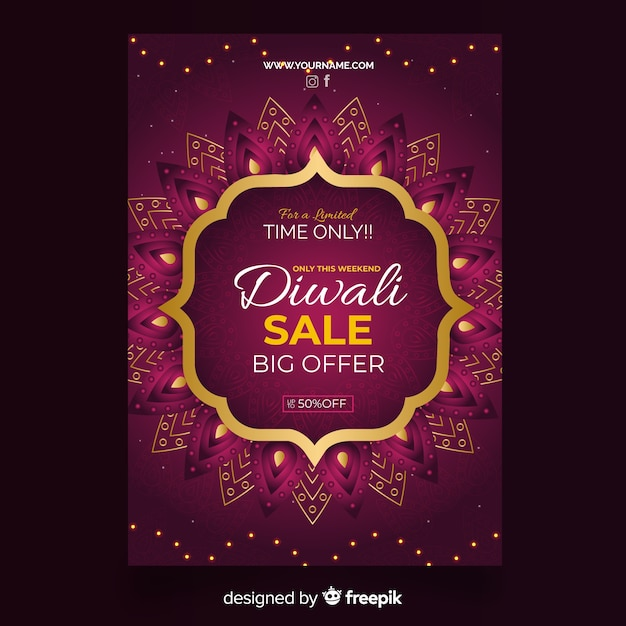 Flat diwali sale flyer template Free Vector