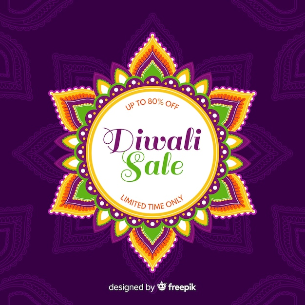 Flat diwali sale with floral abstract sun Free Vector