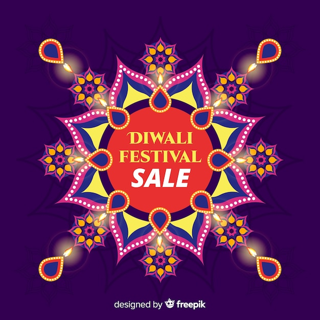 Flat diwali sale with floral design Free Vector