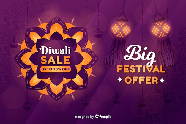 Flat diwali sale with lanterns Free Vector